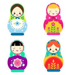 Cute matryoshka. Traditional russian nesting dolls. Smiling Matreshkas icons