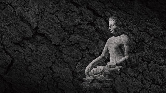 buddha statue on a teak bark texture - abstract monochrome background
