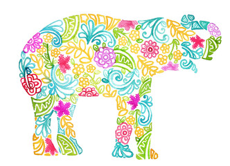 abstract watercolor painted elephant design isolated on white background