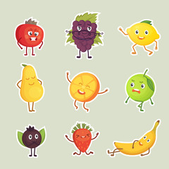 Vector Collection of fruits stickers isolated set.