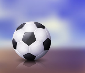 Realistic soccer ball illustration with reflection on abstract blurred background. EPS 10