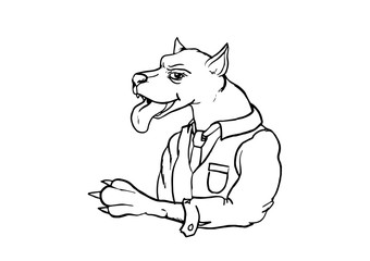 A big dog wearing a business suit. Vector illustration