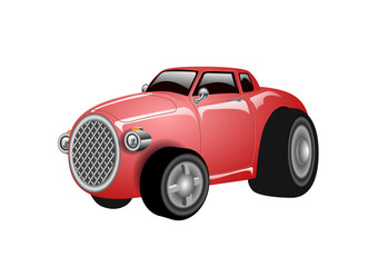 A shiny and polished cartoon red car. Vector illustration