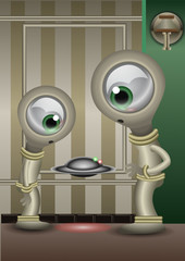Two aliens checking a little fliying disk like a drone in a vintage room. Vector illustration