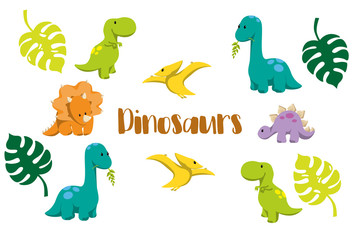 Dinosaur icons in flat style for designing dino party, children holiday, dinosaurus related materials