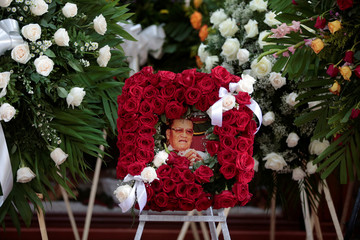 A picture of Cardinal Miguel Obando y Bravo is seen in his funeral service at the Metropolitan Cathedral in Managua