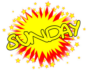 Cartoon Yellow Sunday Isolated Splash