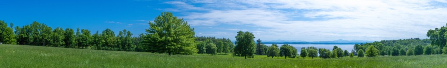 Panoramic view of a land near Lake Champlain NY in summer