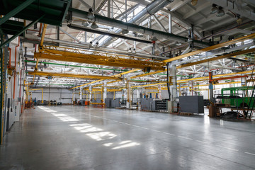 Factory workshop interior and machines