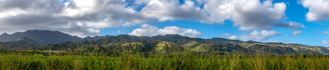 Panoramic view of mountains in north Oahu Hawaii