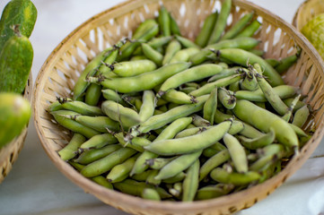 Fava broad beans in basket