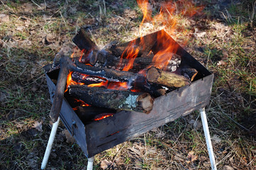 Fire burns in the grill in nature.