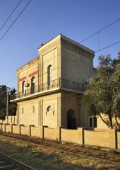 Railway station in Suraxanı near Baku. Azerbaijan