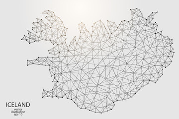 A map of Iceland consisting of 3D triangles, lines, points, and connections. Vector illustration of the EPS 10.