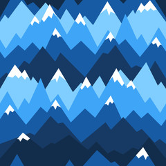 Blue mountains seamless pattern. Vector background for hiking and outdoor concept.