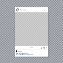 Creative vector illustration of social media photo prop frame isolated on background. Art design mockup. Abstract concept graphic element for your post