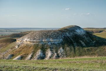Mountain near Kamyshinskiy, Volgograd region, Russia. Formed by white chalk deposites millions years ago.