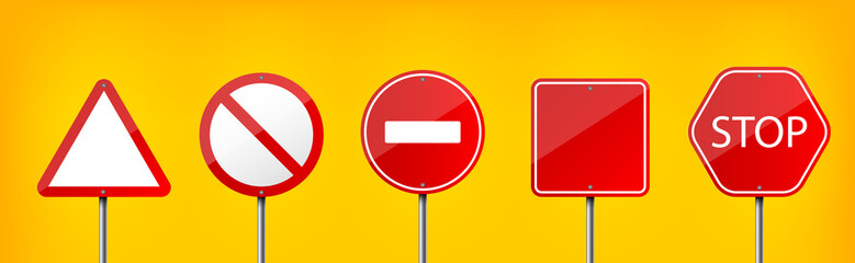 Fotomurales - Creative vector illustration of road warning sign isolated on transparent background. Art design realistic blank traffic regulatory template. Abstract concept graphic empty banners mockup element