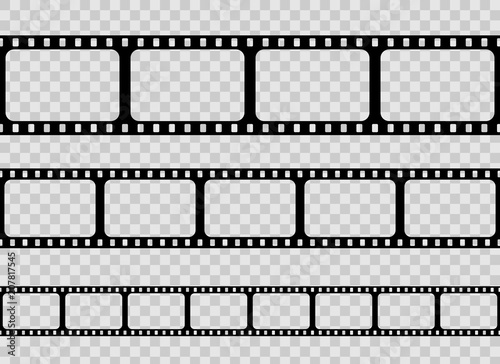 Creative vector illustration of old retro film strip frame set ...