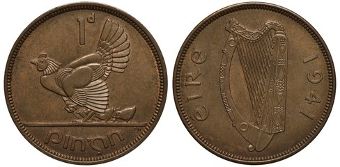 Ireland Irish coin 1 one penny 1941, hen with chickens, legend Ireland, harp divides country name and date,