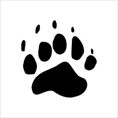 Black Bear footprints icon. Vector Illustration