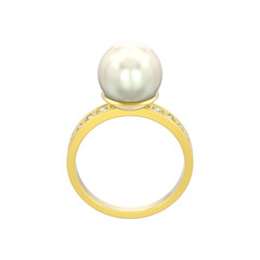 3D illustration isolated gold diamond engagement wedding ring with pearl