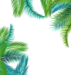 Tropical background with jungle plants. Exotic pattern with palm leaves.
