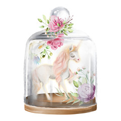 Beautiful, unicorn, magic horse and flowers in a glass mason jar. Fantasy watercolor illustration isolated on white