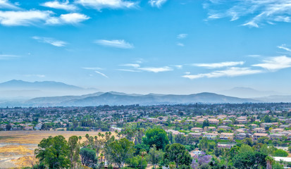 Southern California morning smog on sunny summer day