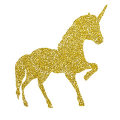Beautiful, unicorn, magic horse, pegasus silhouette, gold with shiny golden glitter