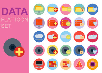 Protect data universal flat technology icons set vector illustration design. Web network symbol application
