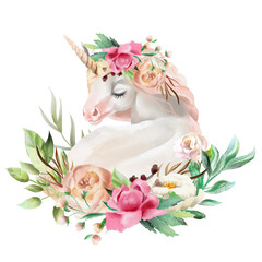 Beautiful, cute, watercolor dreaming unicorn with flowers, floral bouquet isolated on white