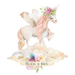 Beautiful, cute, watercolor dreaming unicorn, pegasus with wings and  flowers, floral crown, bouquet on the cloud with ribbon isolated on white