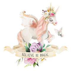 Beautiful, cute, watercolor dreaming unicorn, pegasus with flowers, golden crown, floral bouquet, pigeon and ribbon with qoute isolated on white