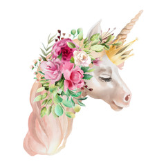 Beautiful, cute, watercolor unicorn head with flowers, golden crown, floral bouquet isolated on white