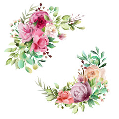 Beautiful watercolor floral bouquet, whimsical flowers wreath, frame, border, divider. Pink rose, violet and cream peony. Fantasy wedding arrangement isolated on white