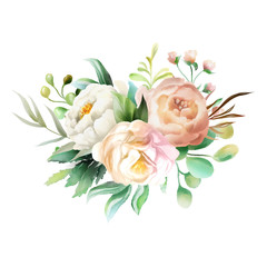 Beautiful watercolor floral bouquet, whimsical flowers wreath. Pink rose and cream peony. Fantasy wedding arrangement isolated on white