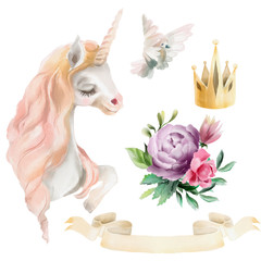 Beautiful, cute fantasy, watercolor magic horse, unicorn with white pigeon, gold crown, antique ribbon and floral, flowers bouquet - violet peony and pink rose