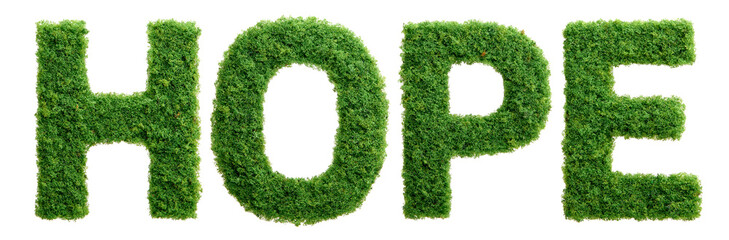 Grass growth hope letters isolated