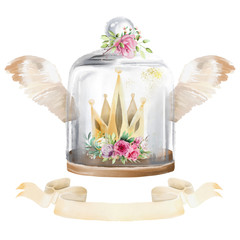 Beautiful watercolor composition - glass mason jar with wings, gold crown, antique ribbon, flowers - peony and roses