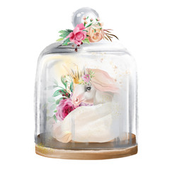 Beautiful, unicorn, magic horse in gold crown and flowers in a glass mason jar. Fantasy watercolor illustration isolated on white