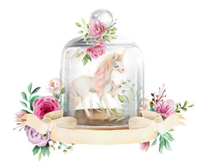 Beautiful, unicorn, magic horse and flowers in a fantasy glass mason jar with antique ribbon