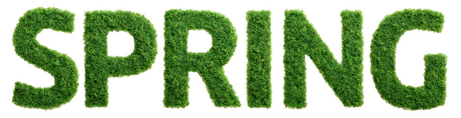 Grass growth spring letters isolated