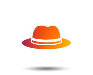 Top hat sign icon. Classic headdress symbol. Blurred gradient design element. Vivid graphic flat icon. Vector