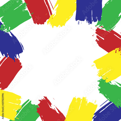 77dd67530527cf Vector abstract colorful frame on an white background. Template frame  design with brush strokes. Template or logo for paint store, factory  design, kids ...
