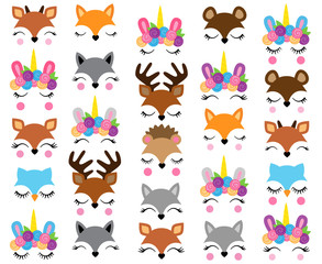 Mix and Match Animal Faces - Create Whimsical Animal Faces by Mix and Matching Heads, Eyes and Accessories