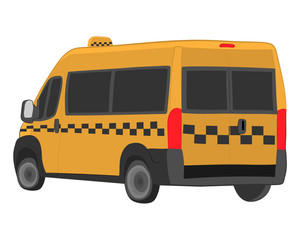 yellow taxi bus vector drawing illustration