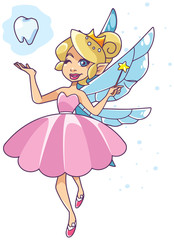 Illustration of the happy tooth fairy, flying on white background.