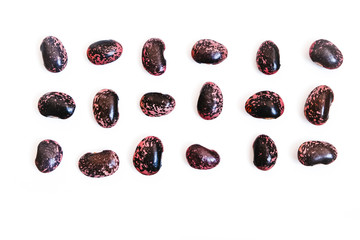 Scarlet runner beans,  phaseolus coccineus isolated on white background