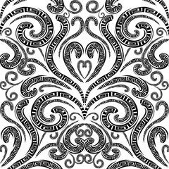 Floral greek vector seamless pattern. Monochrome black and white